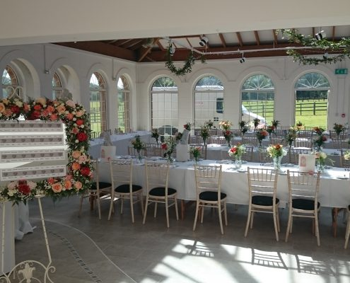 Large mirror and vases at Irnham Hall