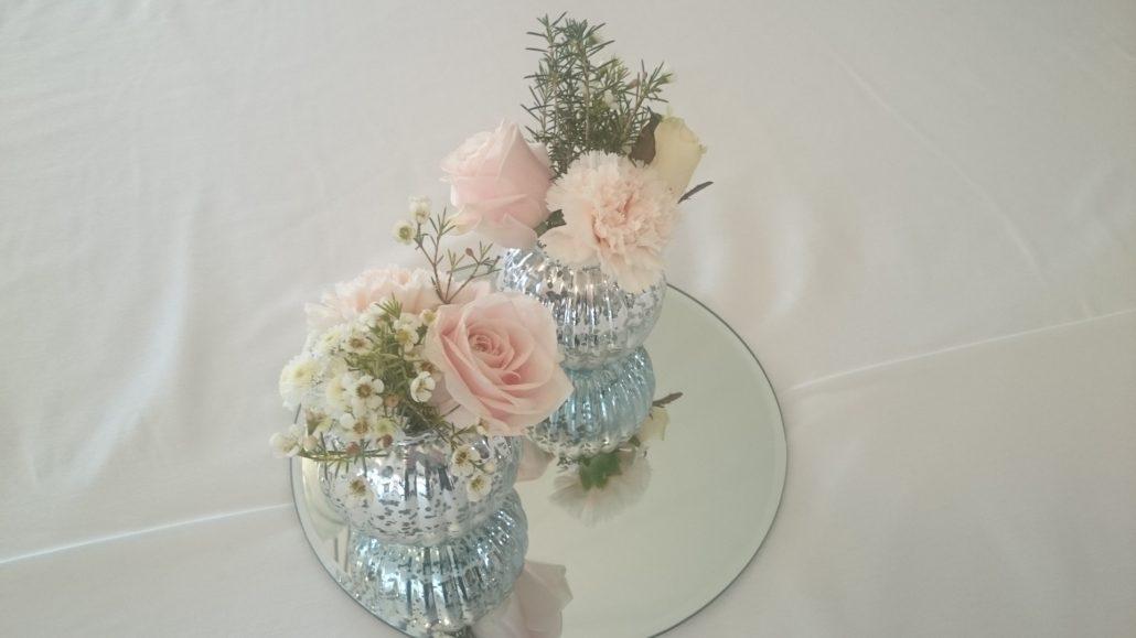 Silver pumpkin vases with mirror