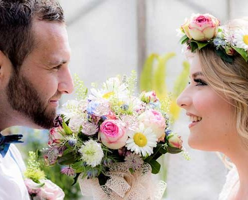 Summer mix bouquet and flower crown
