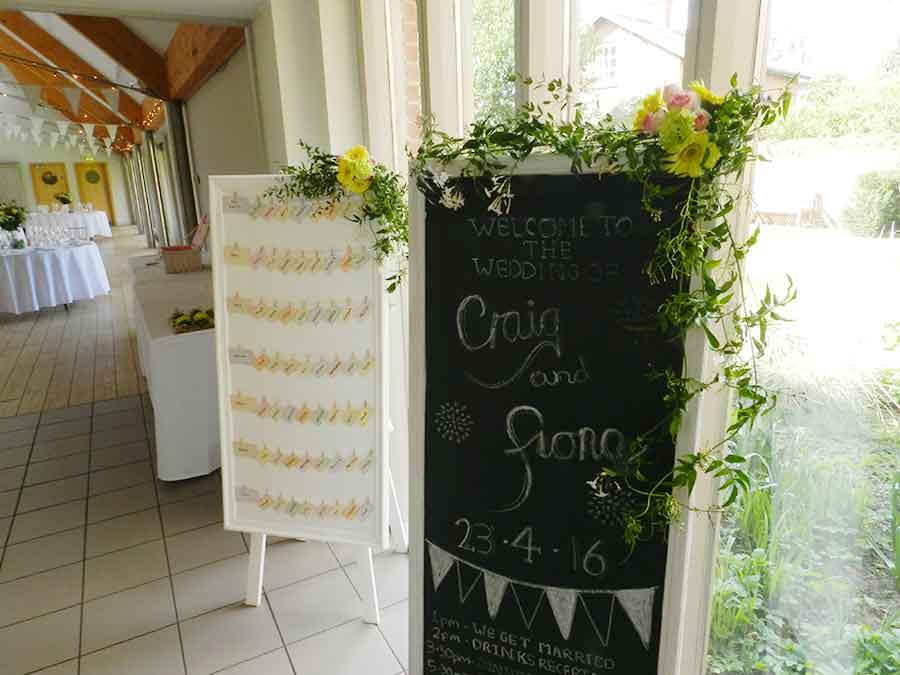 Welcome board flowers