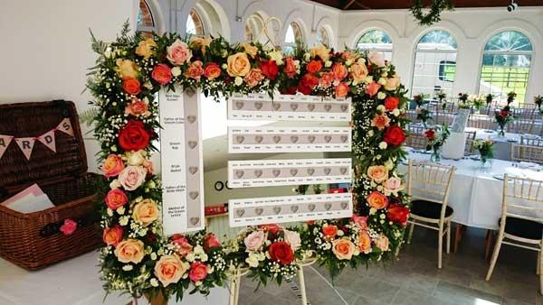 Table plan flower garland at Irnham Hall