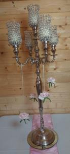 Crystal gem candelabra with roses