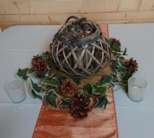 Wicker lantern and foliage