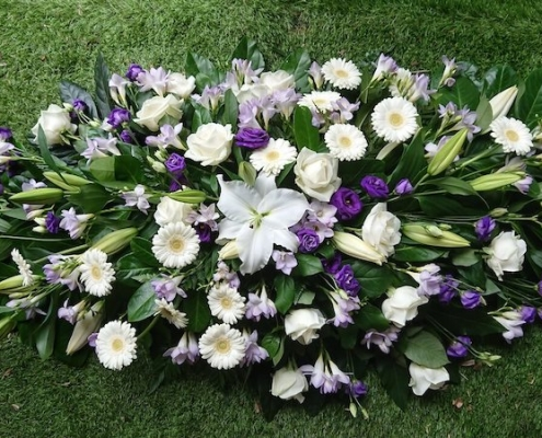 4ft Purple and white Coffin Spray £150